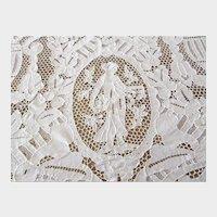 "Antique Hand Made Lace Tablecloth Point De Venise Italian Needle Lace Figural Maidens Banquet Size 138"" x 68"" 1890s"