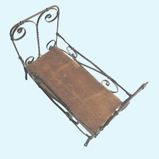 Antique Iron Metal  Doll Bed