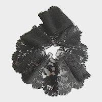 Antique French Black Chantilly Bobbin Lace Floral Border Trim 19th Century