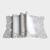 Antique Fine Linen Runner with Hand Made Princess Lace Border
