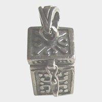 Vintage Sterling Silver Miniature 3D Box Pendant Charm Opens