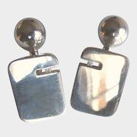 Modernist Sterling Silver Solid Ball Back Cufflinks with Diamonds Minimalist Cuff Links