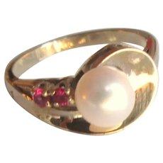 Modernist 10K Gold Pearl Ruby Ring