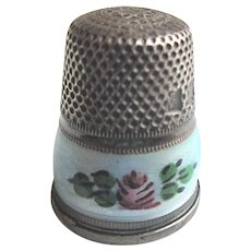 Sterling Enamel Thimble Vintage German Gabler Thimble with Enameled Roses c1920