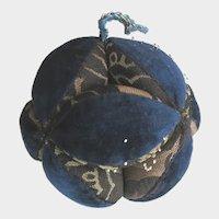 Antique Mennonite Puzzle Ball Dark Blue Velvet Hand Made Pin Cushion