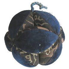 Antique Mennonite Puzzle Ball Dark Blue Velvet Hand Made Pin Cushion