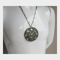 Vintage Sterling Silver HNOS GS Large Necklace with Abalone Pendant or Brooch