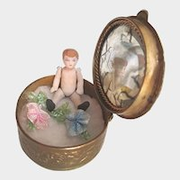 Antique Miniature Tiny Boy Doll in French Box with Seed Pearls and Faux Blue Moonstones