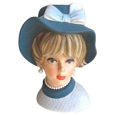 "Vintage Large Lady Head Vase 9"" Napco C7496"