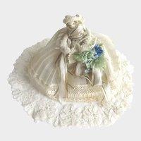 Antique Miniature Bride Doll Hand Made c1910