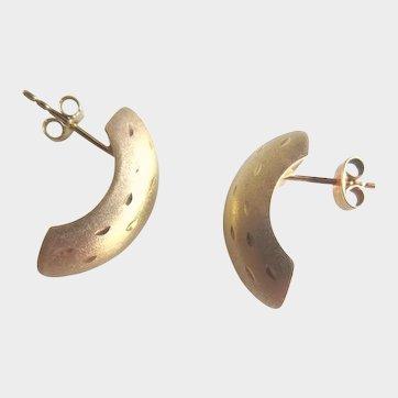 14K Gold Half Hoop Textured Stud Earrings Estate