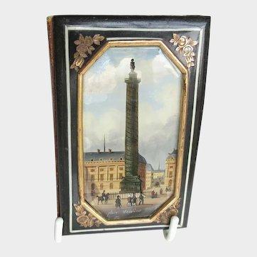 Antique French Palais Royal Papier Mache Necessaire, Carnet du Bal or Aide Memoire