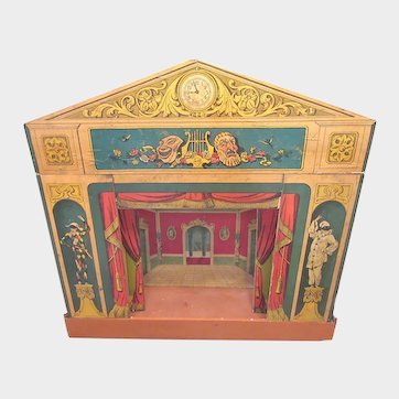 Victorian Commedia Dell'arte Toy Theatre with Puppet Performers c1870
