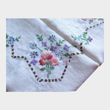 Floral Hand Embroidered Linen Tablecloth