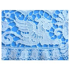 Antique Victorian Fine Linen Doily with Schifli Chemical Lace Border and Griffins
