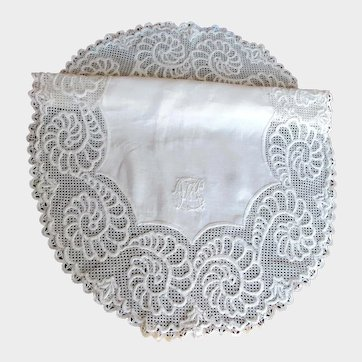 Antique Hand Made Linen and Lace Small Tablecloth or Centerpiece Monogrammed