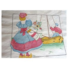 Vintage Vogart Color Stamped Dutch Couple Embroidered Linen Cushion Cover 1930s