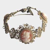 Antique Edwardian Gold Vermeil Filigree Cameo Carved Shell Bracelet