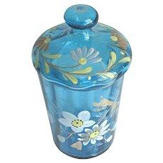 Antique Blue Moser Glass Jar