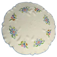 Antique Silk Doily or Centerpiece with Colorful Hand Embroidered Flowers