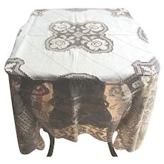 """Vintage Linen Madeira Tablecloth with Wide 15"""" Hand Made Lace Border and Six Napkins"""