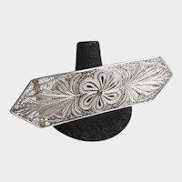 Vintage Large Huge Sterling Silver Filigree Brooch