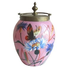 Antique Cased Glass Pink Jam Jar with Enameled Butterfly and Flowers