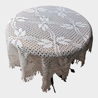 Vintage Hand Crocheted Lace Tablecloth