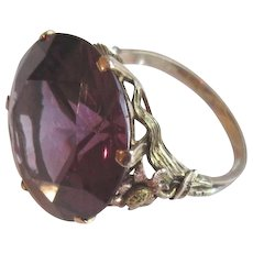 Antique 14k Yellow and Pink Gold Brilliant Synthetic Alexandrite Solitaire Ring