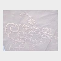 Antique Large Linen Tablecloth with Hand Done Embroidery c1920