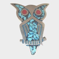 Sterling Turquoise Chip Inlay Taxco Mexico Vintage Owl Brooch