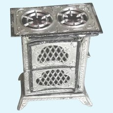 Antique German Miniature Dollhouse Soft Metal and Tin Stove