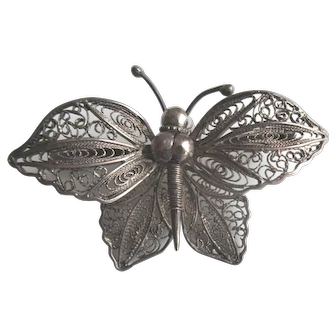 Vintage Sterling Silver Large Filigree Butterfly Brooch
