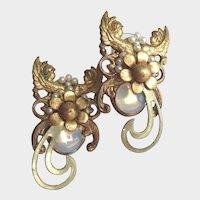 Gold Ormolu Earrings with Angels Seed Pearls Moonstone Vintage