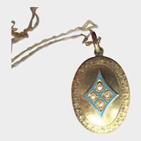 Antique 9K Gold Locket Necklace with Blue Enamel and Seed Pearls