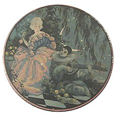 Antique French Art Deco Pierrot and Columbine Tin 1920