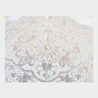 Vintage Linen and Hand Done Point De Venise Lace Tablecloth and Napkins