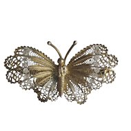 Vintage Gold Wash 800 Silver Filigree Butterfly Brooch