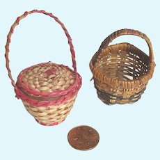 Pair Miniature Antique Doll Wicker Baskets Purse