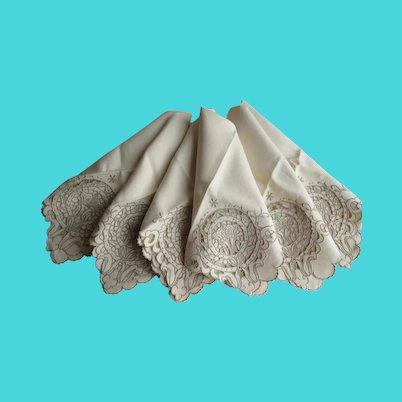 Madeira Linen Hand Embroidered Vintage Napkins