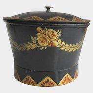 Antique Toleware Sugar Bowl Sugar Box