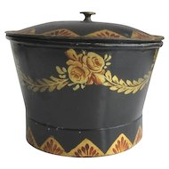 Antique Toleware Sugar Bowl Sugar Box