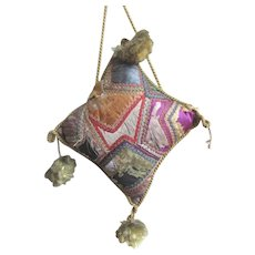 Antique Hand Made Silk Pincushion with Hanging Tassels