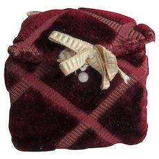 Antique Hand Made Deep Burgundy Silk Velvet Box