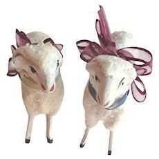 Pair Antique German Putz Sheep
