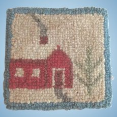 Vintage Miniature Dollhouse Rug with Red House