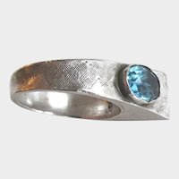 Modernist Sterling Ring With Blue Glass Stone