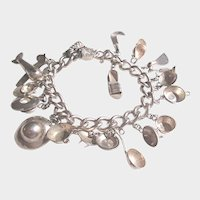 Vintage Sterling Mexican Charm Bracelet Loaded with Hand Made Charms 1930's to 1940's