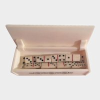 Miniature Hand Made Antique Bone Dominoes in Box