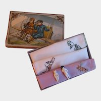 Art Nouveau Child's Handkerchief Box with Hankies and Two Frozen Charlottes